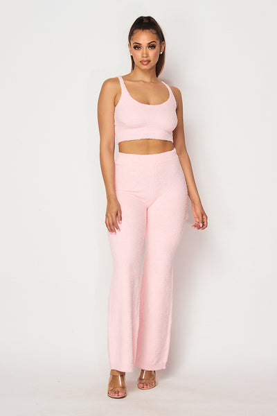 Terry Cloth Crop Top & Pants Set