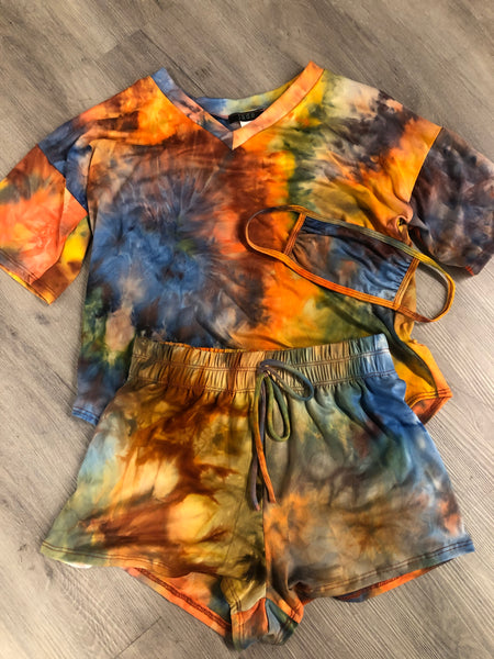 V Neck Tie Dye Short Sleeve Top & Short Set with Matching Mask