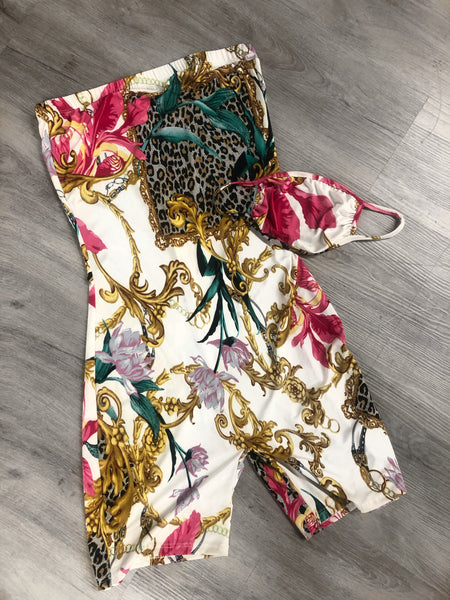 Printed Short Romper with Mask