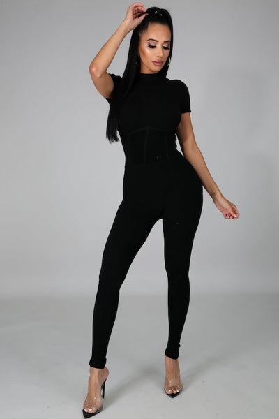 Cap Sleeve Jumpsuit with Corset Waist Detail