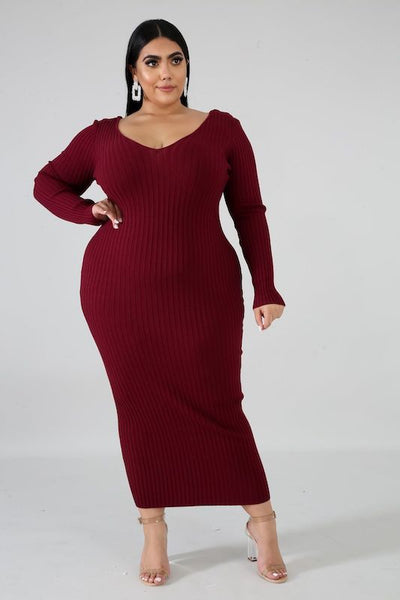 PLUS Knitted Ribbed Deep V Neck Long Sleeve Dress