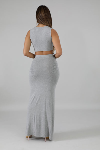 Sleeveless Crop with Front Tie & Maxi Skirt Set