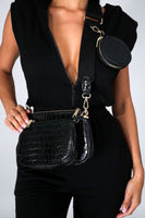 3 in 1 Crocodile Crossbody Bag Set