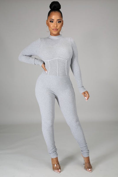 Long Sleeve Open Back Corset Detail Jumpsuit