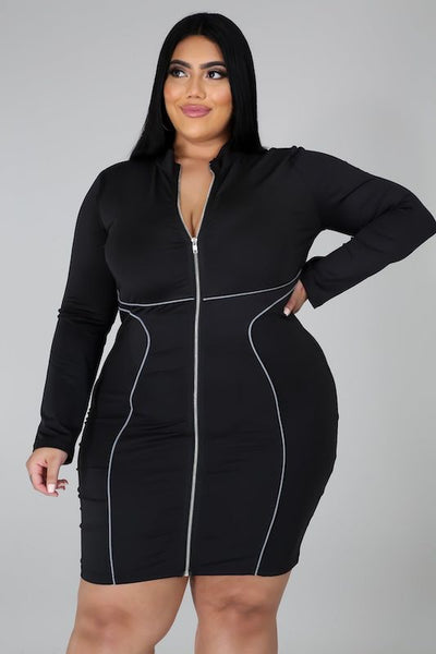 Plus Mock Neck Front Zipper Long Sleeve Dress