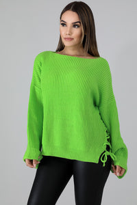 Lace Up Sides Sweater