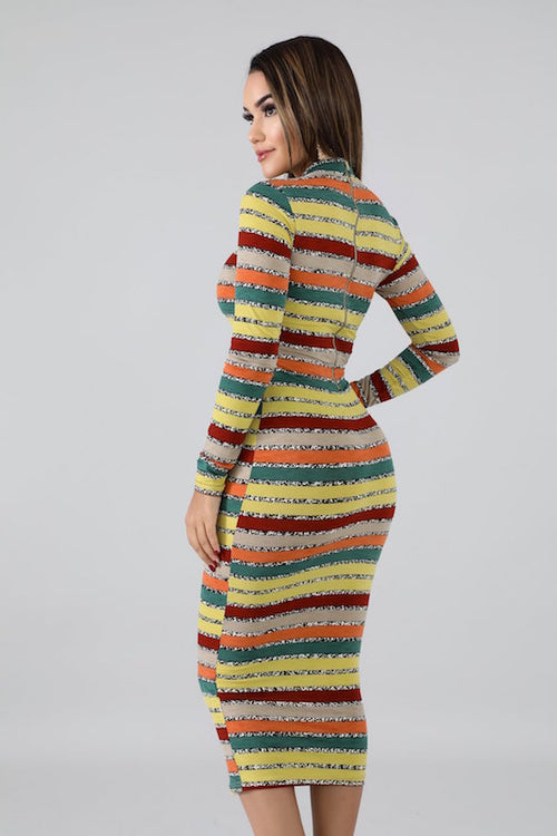 Mock Neck Long Sleeve Stripe Dress