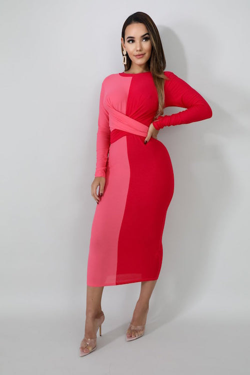 Vertical Two-Tone Block Dress