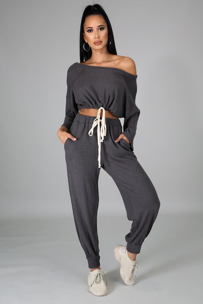 Ribbed Brushed 3/4 Sleeve Tie Top & Jogger Set