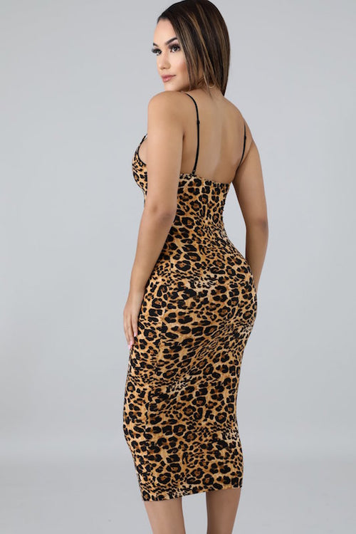 Spaghetti Strap Knee Length Leopard Dress