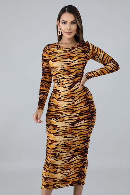 Long Sleeve Zipper Back Tiger Print Dress