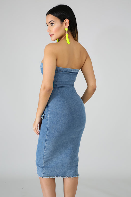 Strapless Denim Dress with Sleeve Belt