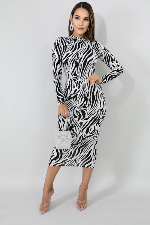 Mock Neck Long Sleeve Zebra Bodysuit & Skirt Set