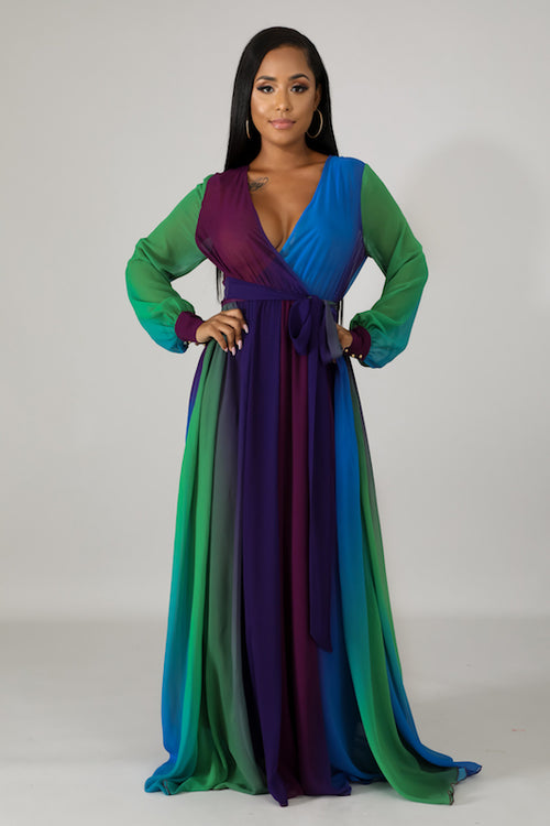 Long Sleeve Deep V Neck Long Dress
