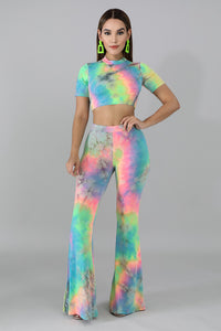 Tie Dye Round Neck & Wide Leg Pant Set
