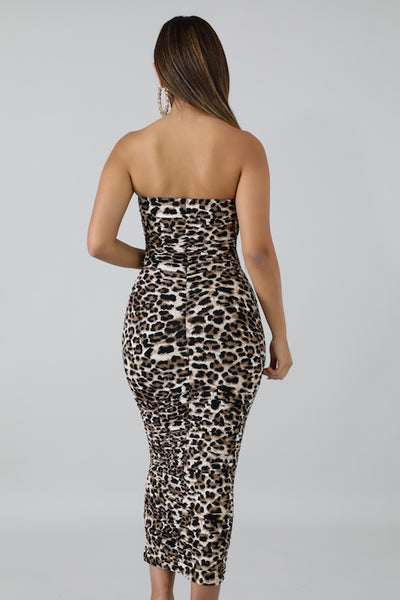 Leopard Ruched Tube Dress