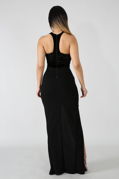 Stretch Velvet Slit Long Dress