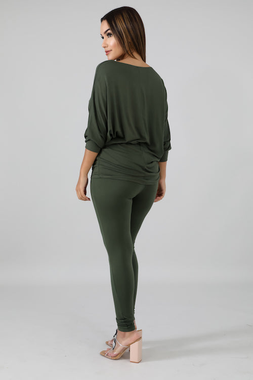 Long Sleeve Loose Top with Legging