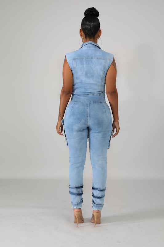 Sleeveless Denim Jumper with Sleeve Belt