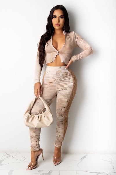 Tie Dye High Neck Crop Top & Ruched Pant Set
