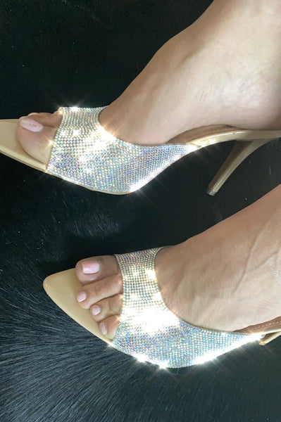 Slide On Rhinestone Strap Heel