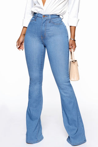 High Waist Stretch Bell Bottom Denim