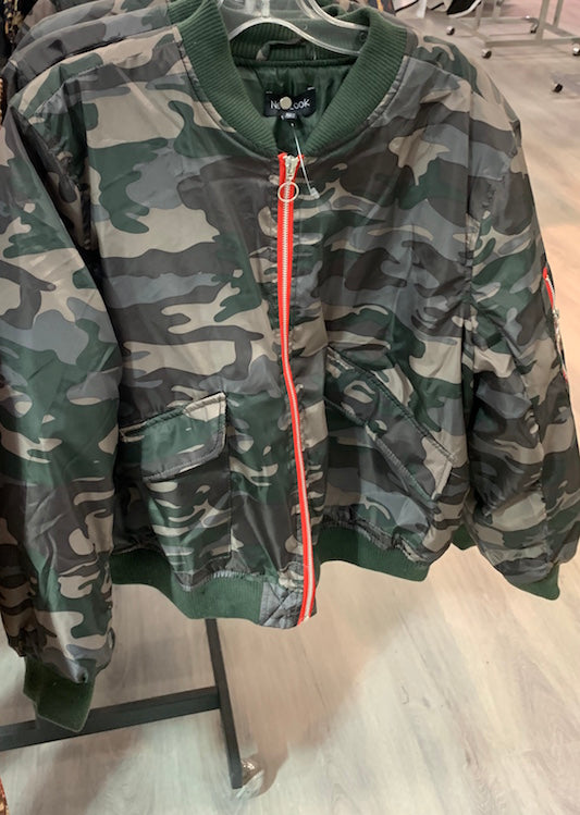 Zipper Up Puffy Camo Jacket
