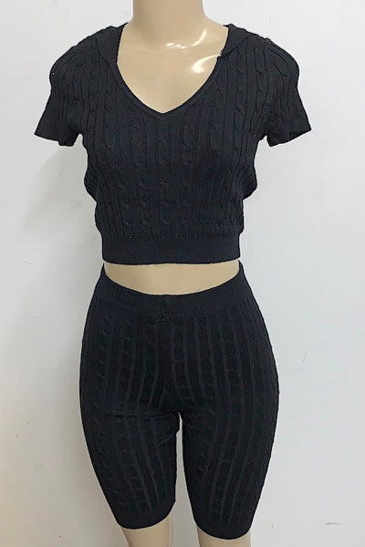 V Neck Crop Top with Hoodie and Short Set