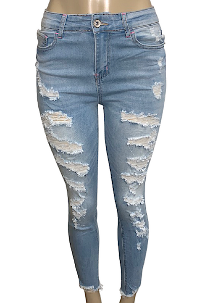 Destroyed High Rise Skinny Jean