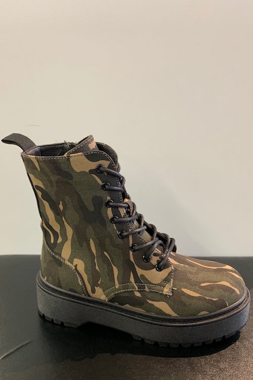 Lace Up Military Bootie