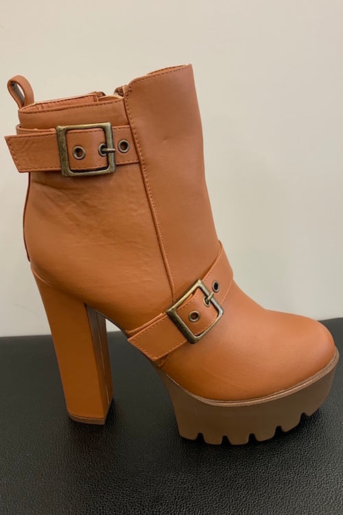 Platform Ankle Bootie with Buckles