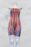 Stripe Print Tube Romper with Mask