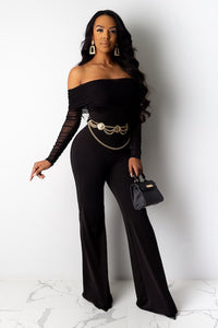 Shirred Off Shoulder Jumpsuit