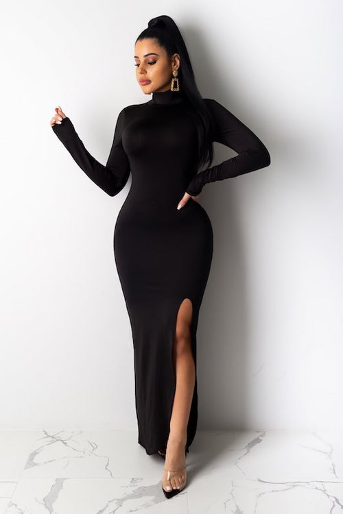 Mock Neck Dress with Side Slits