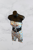 Print Ruched Halter Top & Gathered Short Set