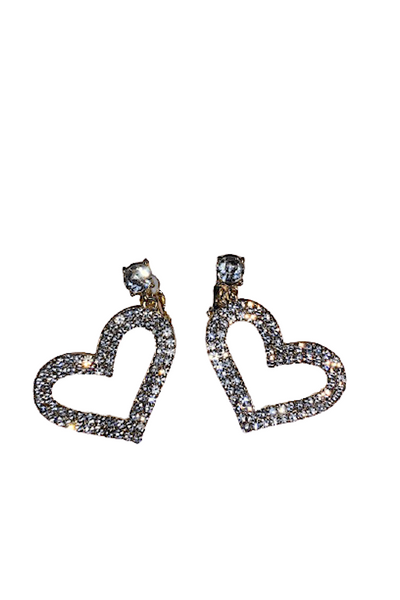 Rhinestone Heart Clip On Earring