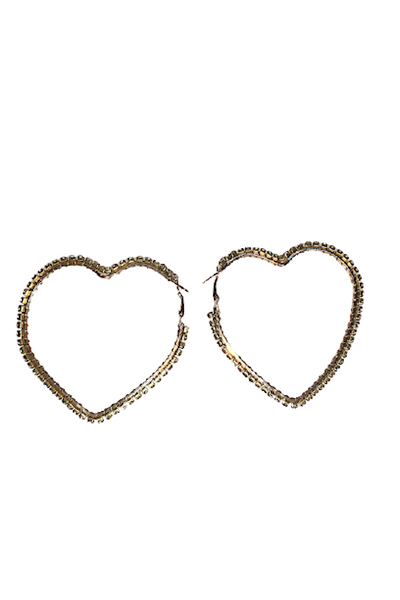 Rhinestone Heart-Shaped Hoop Earring