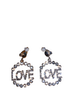 Rhinestone 'LOVE' Circular Clip On Earring