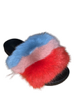 Color Block Furry Slide