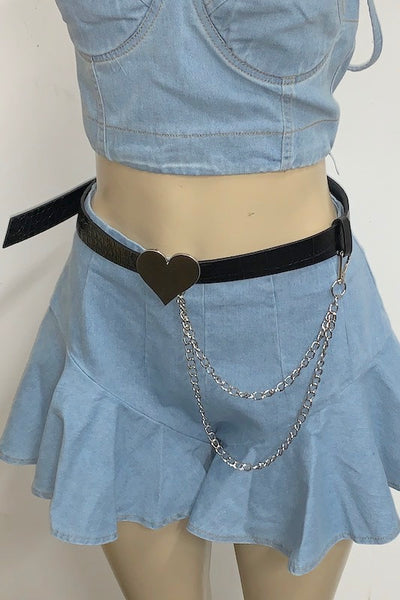 Heart Belt with Chain Details