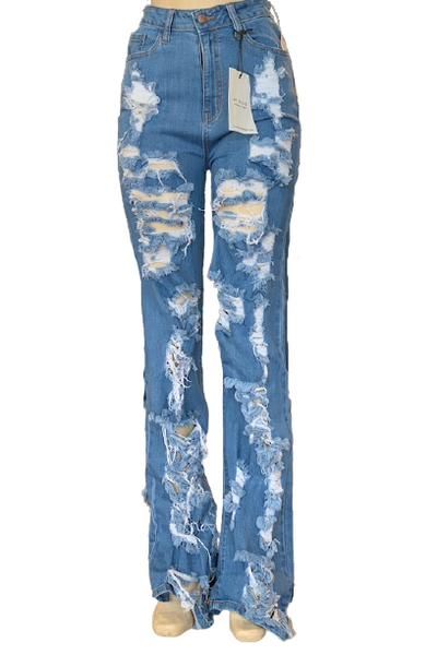 High Rise Destroyed Loose Fitting Jeans