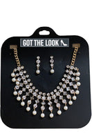 Pearls and Jewel Gold Earring & Necklace Set