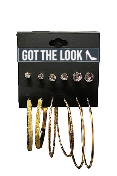 6 Pack Gold Earring Set