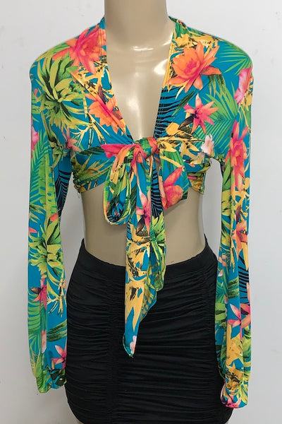 Tropical Top With Tie Waist