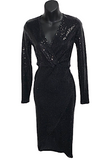 Long Sleeve Sequin Wrap Midi Dress