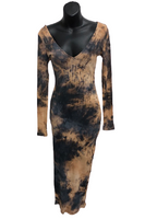 Tie Dye Long Sleeve Deep V Midi Dress