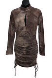 Tie Dye Long Sleeve Ruched Dress with Keyhole