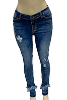 Frayed and Zipper Ankle Stretch Skinny Jeans