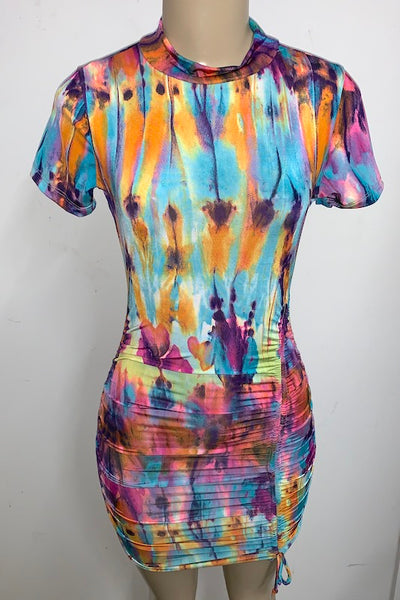 Tie Dye Print Short Sleeve Front Ruched Dress