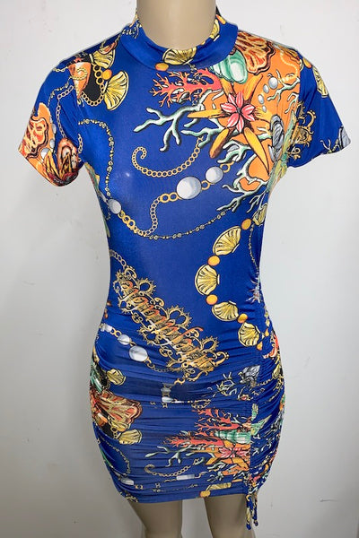 Shells Print Short sleeve Front Ruched Dress